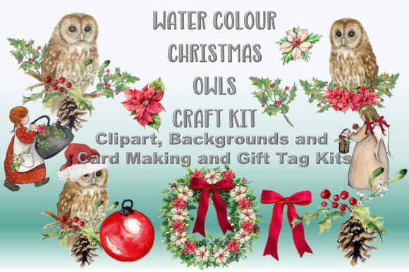 Print on Demand: Watercolour Christmas Owls Clipart Kit Graphic Illustrations By The Paper Princess - Image 1