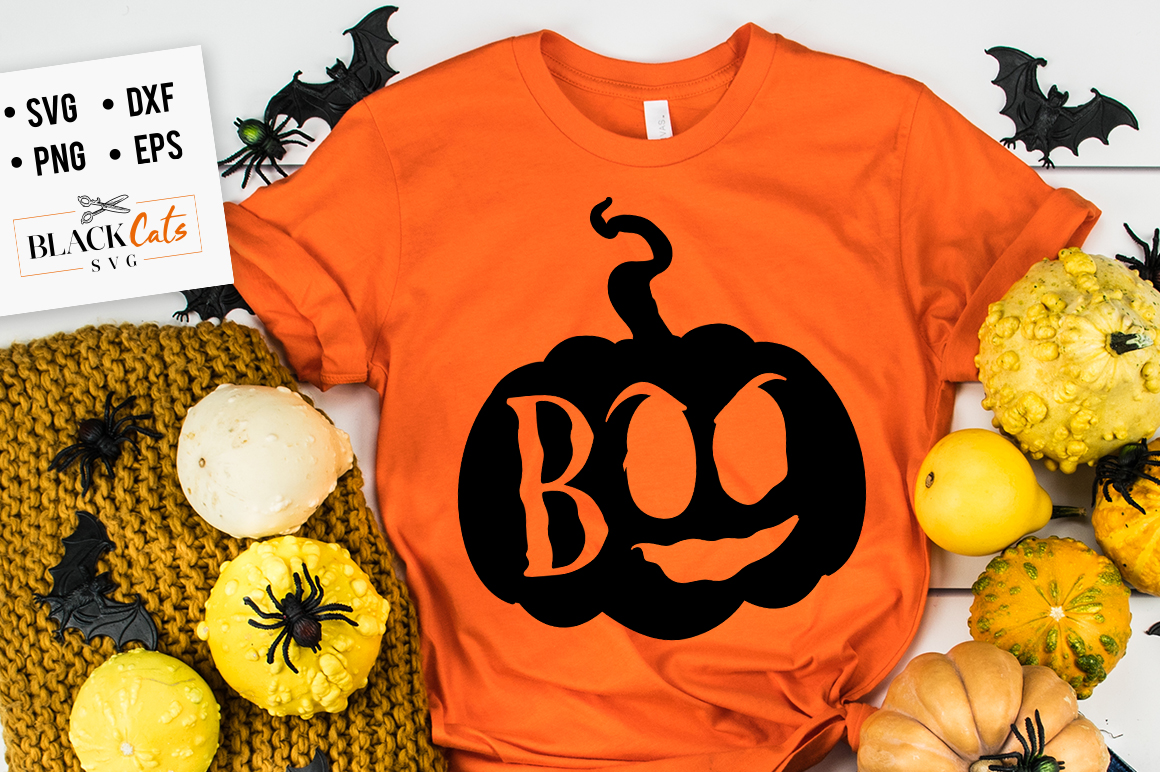 Download Free Boo Pumpkin Svg Graphic By Blackcatsmedia Creative Fabrica for Cricut Explore, Silhouette and other cutting machines.