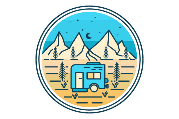 Print on Demand: Campervan in the Mountains Filled Logo Graphic Icons By graphicrun123