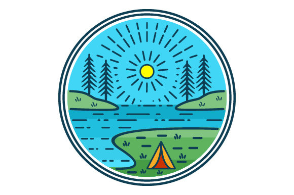 Print on Demand: Camping by the Lake Filled Line Icon Graphic Icons By graphicrun123