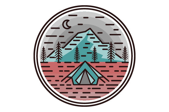 Print on Demand: Camping in the Mountains Line Icon Logo Graphic Icons By graphicrun123