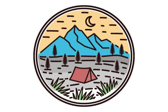 Print on Demand: Camping on a Mountain Filled Line Icon Graphic Icons By graphicrun123