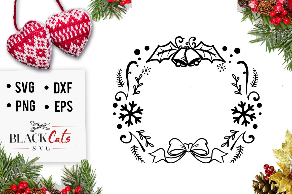Download Free Christmas Wreath Graphic By Blackcatsmedia Creative Fabrica for Cricut Explore, Silhouette and other cutting machines.