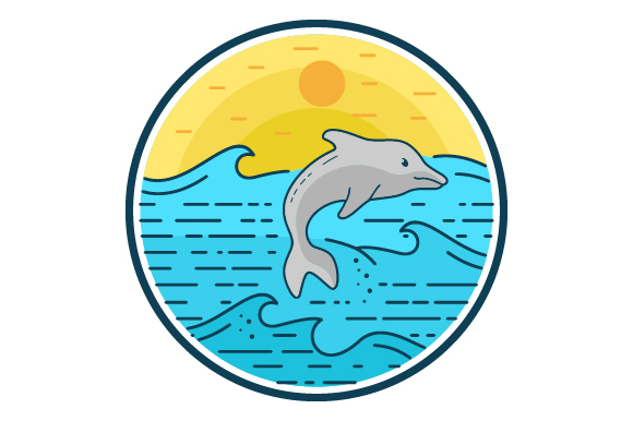 Download Free Dolphin Sea Filled Line Icon Logo Design Graphic By for Cricut Explore, Silhouette and other cutting machines.
