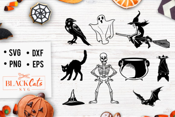 Download Free Halloween Clipart Graphic By Blackcatsmedia Creative Fabrica for Cricut Explore, Silhouette and other cutting machines.