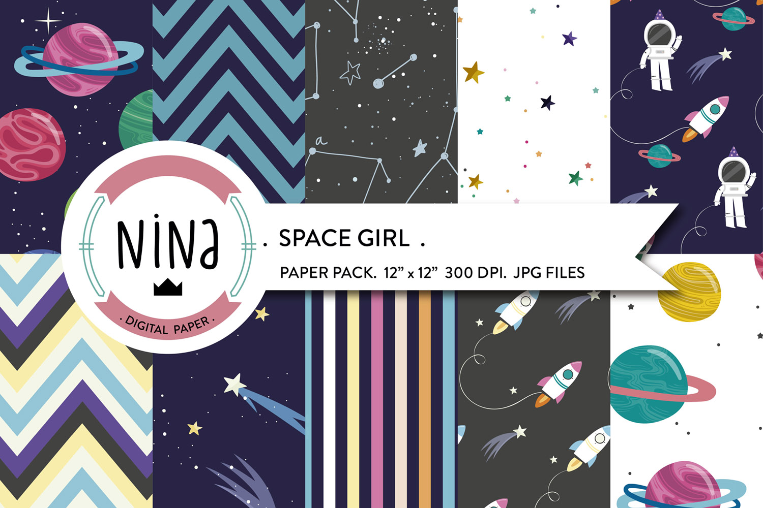 Space Girl Digital Paper, Outer Space (Graphic) By Nina