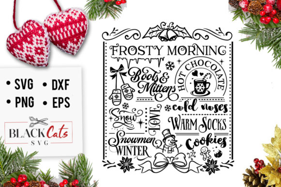 Winter Word Art Poster Frosty Morning, Booths & Mittens Hot Chocolate, Snow Love, Snowmen, Winter, Warm Socks, Cold Noses, Cookies Graphic Crafts By BlackCatsMedia