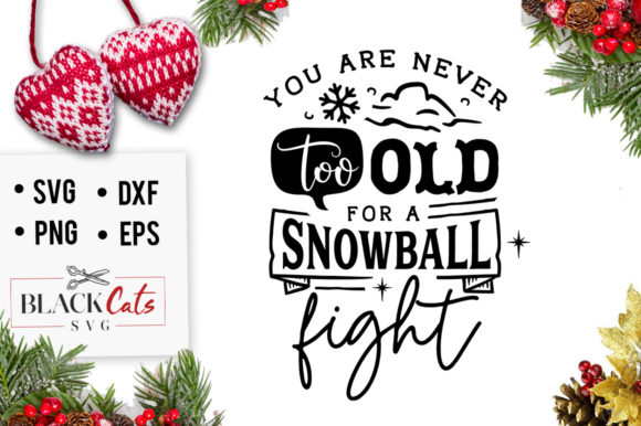 You Are Never Too Old for a Snowball SVG Graphic Crafts By BlackCatsMedia