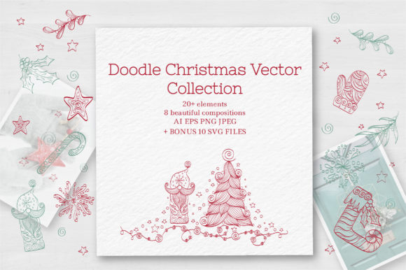 Download Free Doodle Christmas Vector Collection Graphic By Tatyana Zenartist for Cricut Explore, Silhouette and other cutting machines.