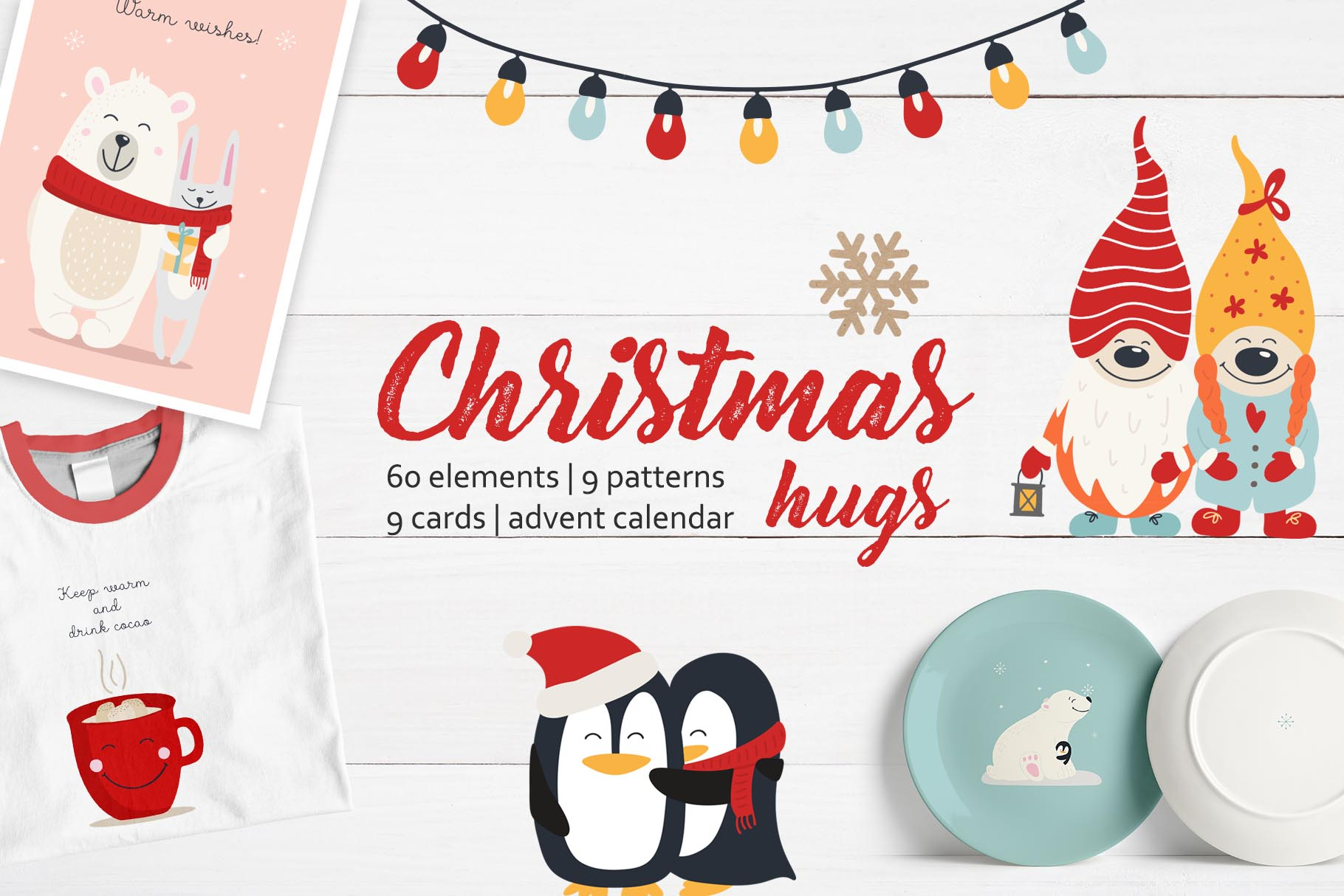Download Free Christmas Hugs Collection Graphic By Alisovna Creative Fabrica for Cricut Explore, Silhouette and other cutting machines.