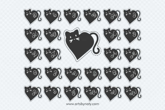 Print on Demand: Valentine Cat Monogram Graphic Illustrations By artsbynaty