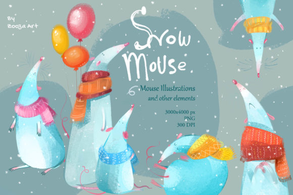 Print on Demand: Snow Mouse Cozy Illustrations Graphic Illustrations By Zooza Art