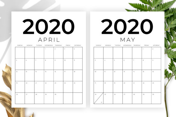 Print on Demand: Vertical 8.5 X 11 Inch 2020 Calendar Graphic Graphic Templates By Running With Foxes - Image 3