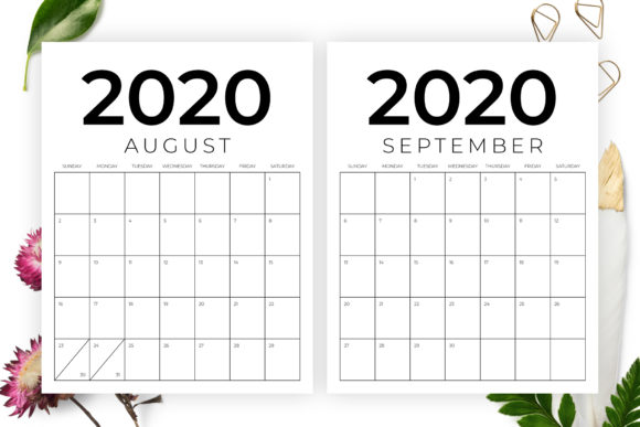 Print on Demand: Vertical 8.5 X 11 Inch 2020 Calendar Graphic Graphic Templates By Running With Foxes - Image 5