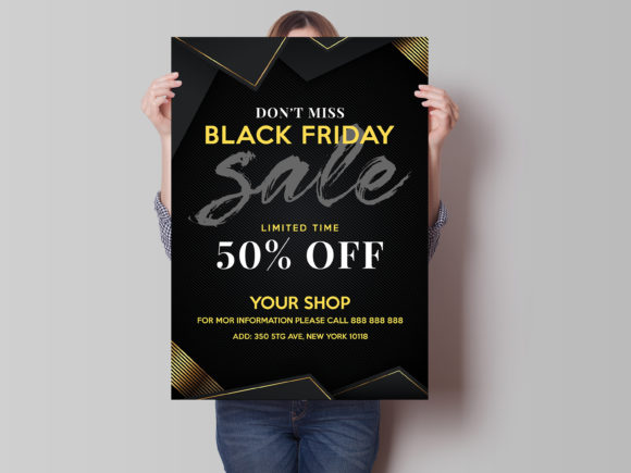 Download Free Black Friday Poster Flyer Template Graphic By Skull And Rose for Cricut Explore, Silhouette and other cutting machines.