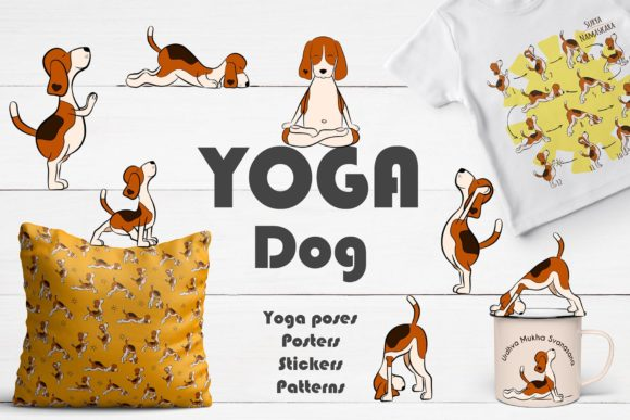 Yoga Dog Collection Graphic Illustrations By Alisovna