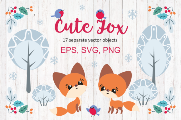 Download Free Cute Fox Christmas Clip Arts Graphic By Olga Belova Creative for Cricut Explore, Silhouette and other cutting machines.