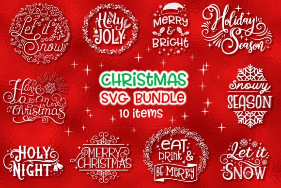 Print on Demand: Christmas SVG Bundle - 10 Items Graphic Crafts By tatiana.cociorva