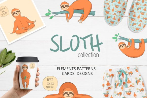 Cute Sloth Collection Graphic Illustrations By Alisovna