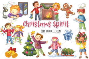 Download Free Christmas Spirit Clip Art Collection Graphic By for Cricut Explore, Silhouette and other cutting machines.