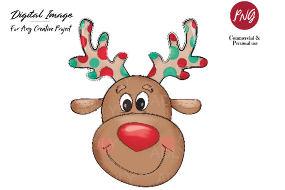Print on Demand: Reindeer Sublimation, Christmas Clip Art Grafik Illustrationen von adlydigital