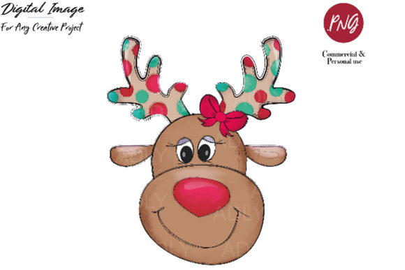 Download Free Reindeerclip Art Christmas Sublimation Graphic By Adlydigital for Cricut Explore, Silhouette and other cutting machines.