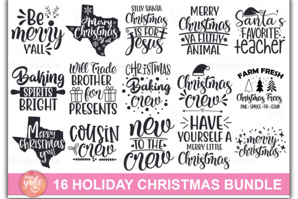 Print on Demand: Holiday Christmas SVG Bundle Graphic Print Templates By DesignSmile