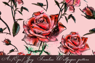 Download Free Beautiful Vector Flower Pattern Roses Graphic By Fleurartmariia for Cricut Explore, Silhouette and other cutting machines.