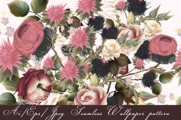 Download Free Floral Pattern With Flowers And Foliage Graphic By for Cricut Explore, Silhouette and other cutting machines.