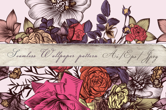 Download Free Floral Vintage Pattern With Rose Flowers Graphic By SVG Cut Files
