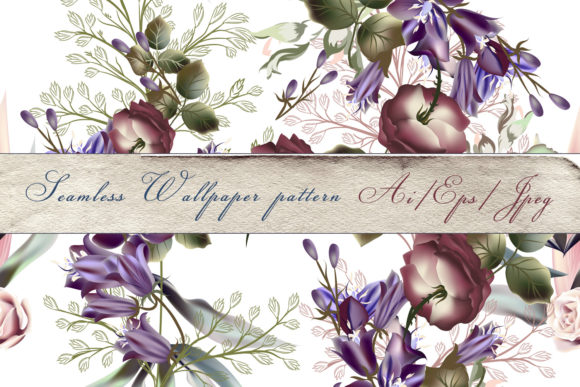 Beautiful Floral Pattern Bells and Roses Graphic Patterns By fleurartmariia