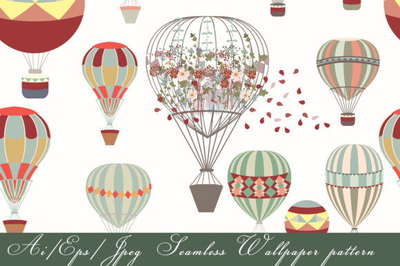 Pattern Vector Air Balloonns Hipster Graphic By fleurartmariia
