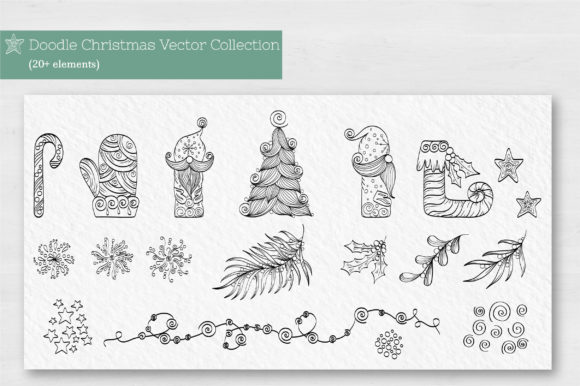 Doodle Christmas Vector Collection Graphic Illustrations By Tatyana_Zenartist - Image 2