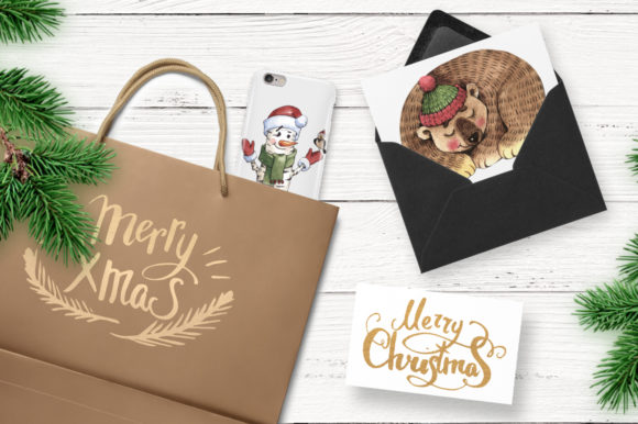 Print on Demand: Merry Christmas Watercolor Png Graphic Illustrations By MyStocks