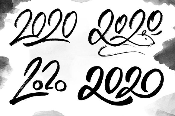 2020 Numbers Lettering Set Graphic Illustrations By Yurlick - Image 3
