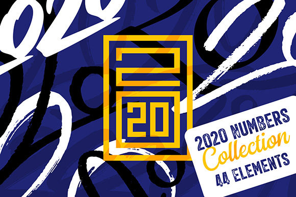 Download Free 2020 Numbers Lettering Set Graphic By Yurlick Creative Fabrica for Cricut Explore, Silhouette and other cutting machines.