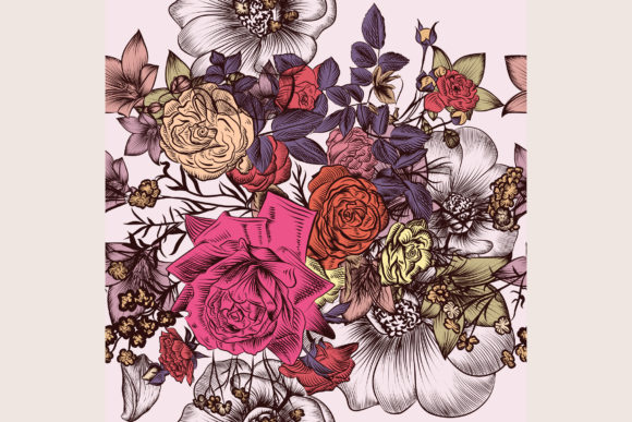 Download Free Floral Vintage Pattern With Rose Flowers Graphic By for Cricut Explore, Silhouette and other cutting machines.