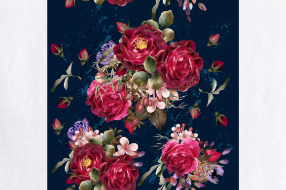 Vector Vintage Pattern with Roses Graphic Patterns By fleurartmariia - Image 2