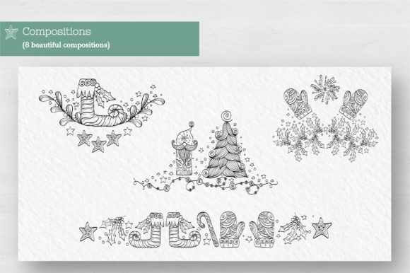 Doodle Christmas Vector Collection Graphic Illustrations By Tatyana_Zenartist - Image 3