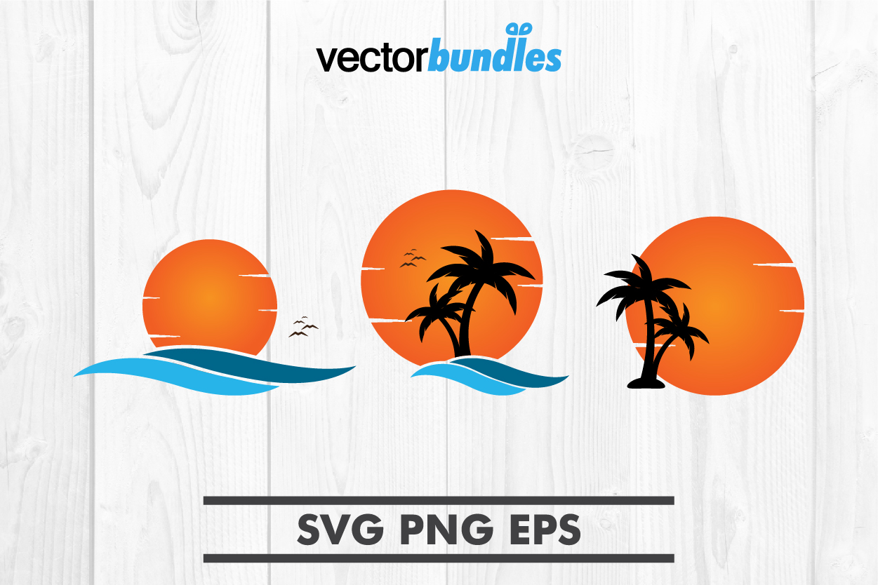 Download Free Palm Tree Sunset Clip Art Svg Graphic By Vectorbundles for Cricut Explore, Silhouette and other cutting machines.