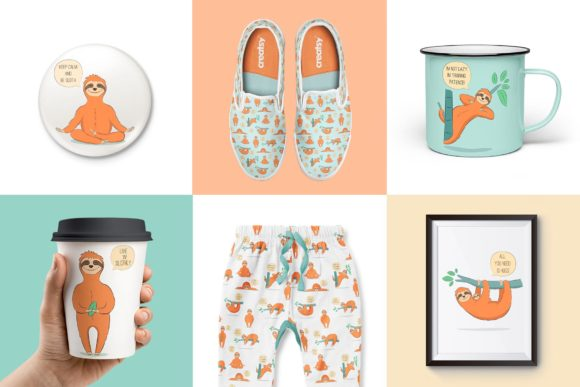 Cute Sloth Collection Graphic Illustrations By Alisovna - Image 3