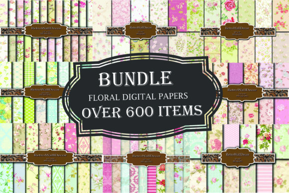 Print on Demand: Floral Papers Bundle, over 600 Papers Graphic Backgrounds By retrowalldecor