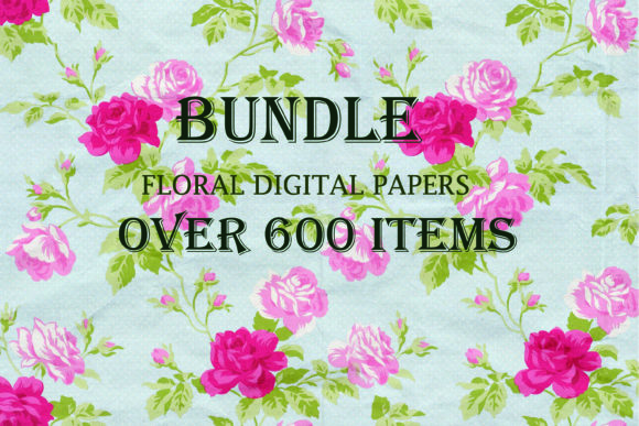 Print on Demand: Floral Papers Bundle, over 600 Papers Graphic Backgrounds By retrowalldecor - Image 2