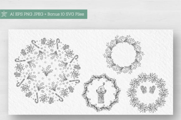 Doodle Christmas Vector Collection Graphic Illustrations By Tatyana_Zenartist - Image 4