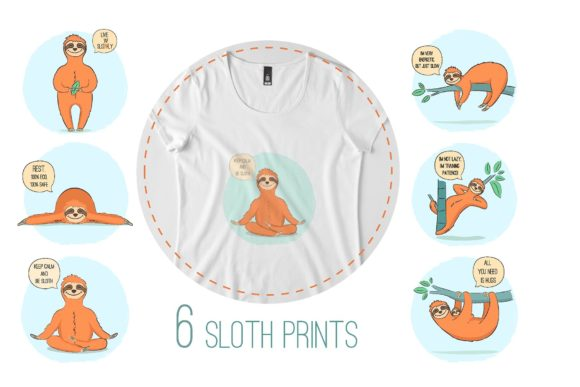 Cute Sloth Collection Graphic Illustrations By Alisovna - Image 8