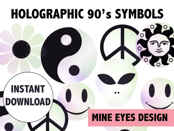 Holographic 90s Symbols Graphic Illustrations By Mine Eyes Design