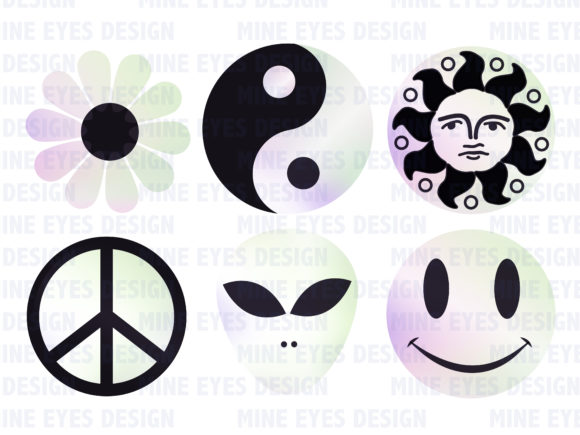 Print on Demand: Holographic 90s Symbols Graphic Illustrations By Mine Eyes Design - Image 2