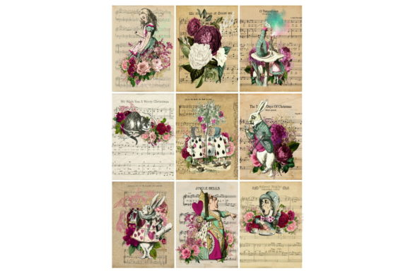 Print on Demand: Alice in Wonderland 9 Images Collage Graphic Illustrations By Scrapbook Attic Studio