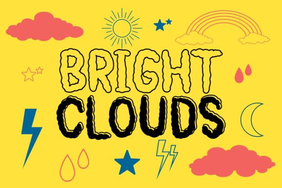 Print on Demand: Bright Clouds Dingbats Font By Rifki (7ntypes)