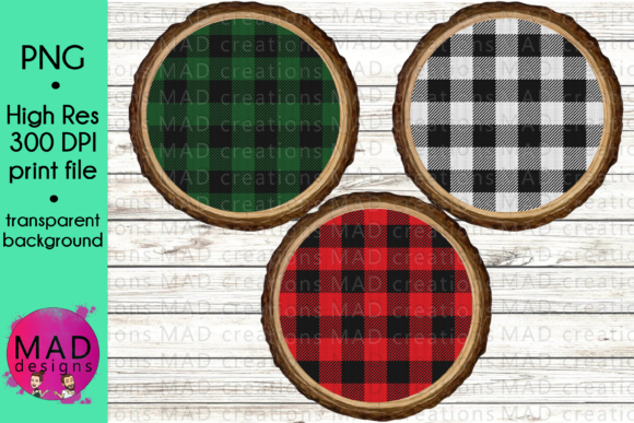 Download Free Buffalo Plaid Wood Slice Ornament Bundle Graphic By for Cricut Explore, Silhouette and other cutting machines.